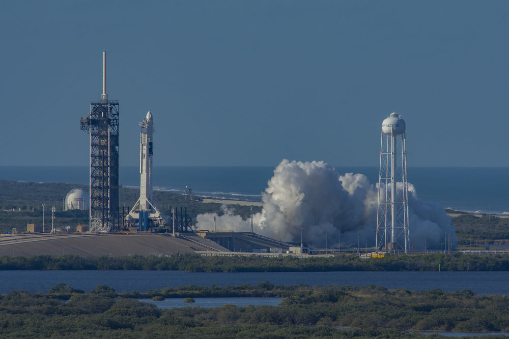 On Jan. 24, 2019, SpaceX performed a static fire test on the Falcon 9 that will be used for the Crew Dragon Demo-1 flight. Credit: SpaceX