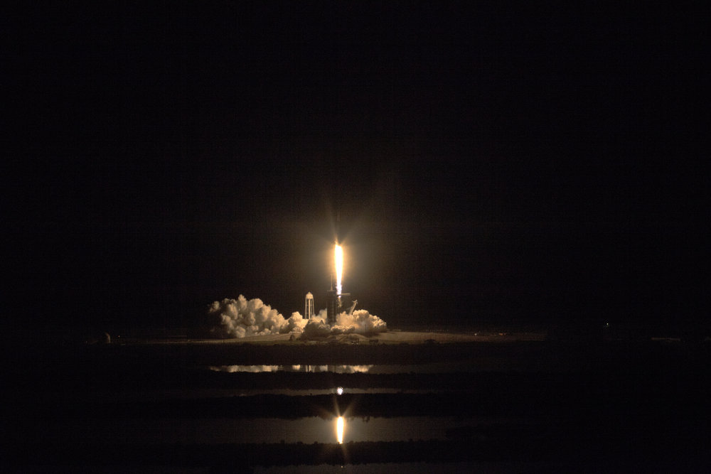 Launching from Kennedy Space Center's Space Launch Complex 39A, a Falcon 9 rocket sends the Crew Dragon Demo-1 spacecraft into orbit. Credit: NASA
