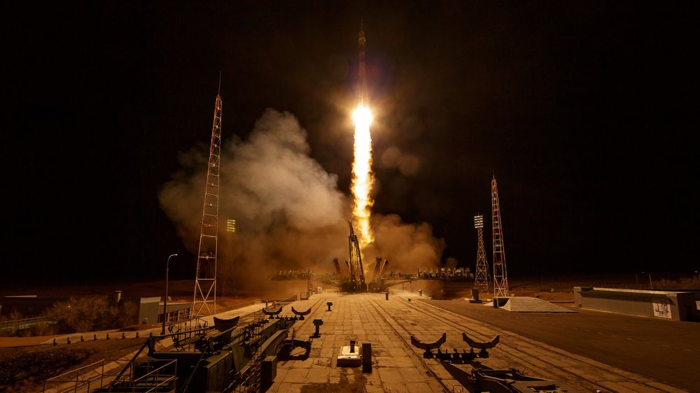Soyuz MS-12 with Russian cosmonaut Aleksey Ovchinin and NASA astronauts Nick Hague and Christina Koch launches into orbit on a six-hour trek to the International Space Station. Credit: NASA/Bill Ingalls