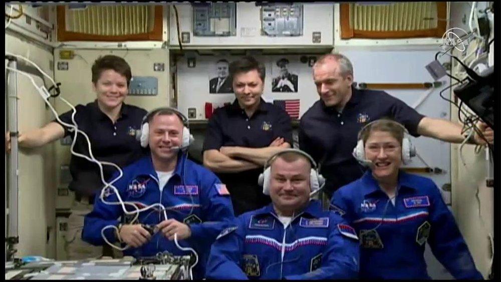 The full Expedition 59 crew following the docking of Soyuz MS-12. Top row: NASA astronaut Anne McClain, Russian cosmonaut Oleg Kononenko, and Canadian Space Agency astronaut David Saint-Jacques. Bottom row: NASA astronaut Nick Hague, Russian cosmonaut Aleksey Ovchinin, and NASA astronaut Christina Koch. Credit: NASA