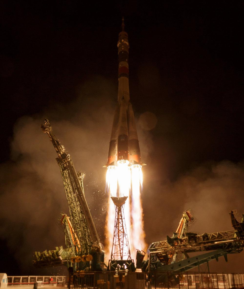 Soyuz MS-12 launches atop the Soyuz-FG rocket. Credit: NASA/Bill Ingalls