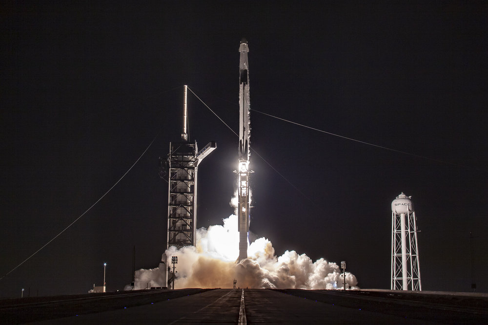 Crew Dragon Demo-1 launches atop a Falcon 9 rocket from Kennedy Space Center's Launch Complex 39A. Credit: SpaceX