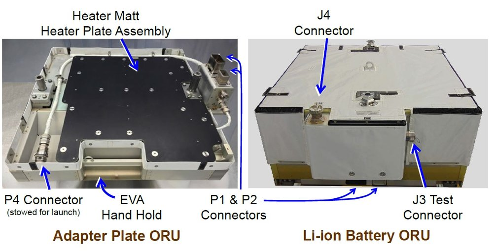 The adapter plate, left, compared with the lithium-ion batteries. Three adapter plates were installed during U.S. EVA-52. Credit: NASA