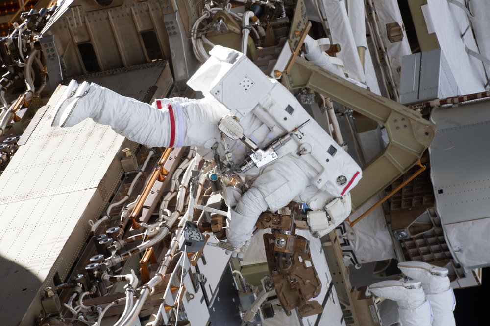 Anne McClain during her first spacewalk, U.S. EVA-52, on March 22, 2019. Credit: NASA