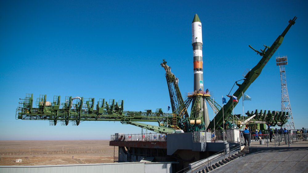 The Soyuz 2.1a rocket with Progress MS-11 encapsulated on top sits at the launch pad before launch. It was transported to site 31/6 on April 1, 2019.