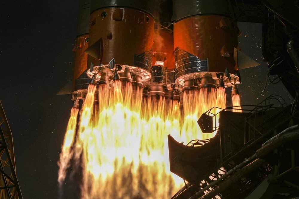 Four boosters fire concurrently with the core stage to push the Soyuz 2.1a rocket with Progress MS-11 off the launch pad at Baikonur Cosmodrome in Kazakhstan. Credit: Roscosmos