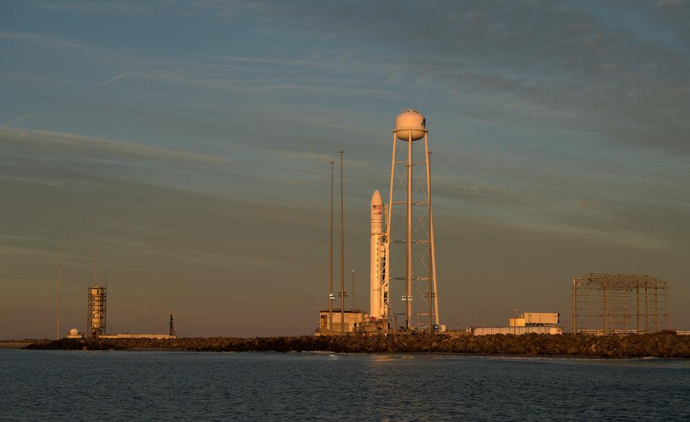 An Antares 230 rocket sits at the launch pad in preparation for liftoff on April 17, 2019. Credit: NASA/Bill Ingalls