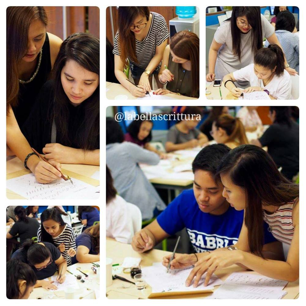 The usual scenes during our Basic Calligraphy Workshops: teachers roaming around to correct students, demonstrate some strokes, and answer individual questions. (With students, clockwise from top left: me, Charm, Berna, Jamie, and Aileen.)