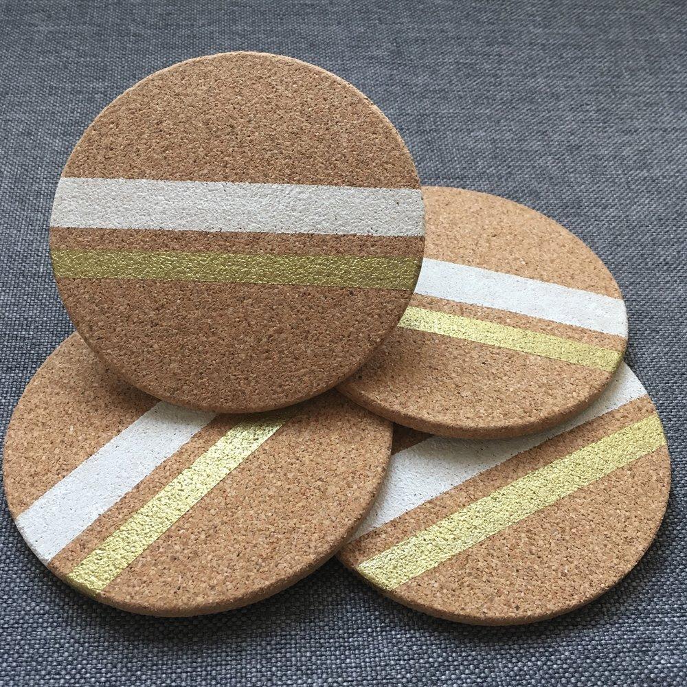 2-Color Stripe (White & Gold)