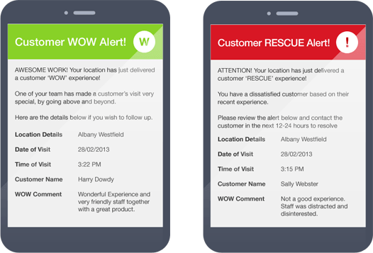 Real-time online customer feedback allows you to act now. Vigil sends alert messages straight to you via email or txt so you can respond immediately.