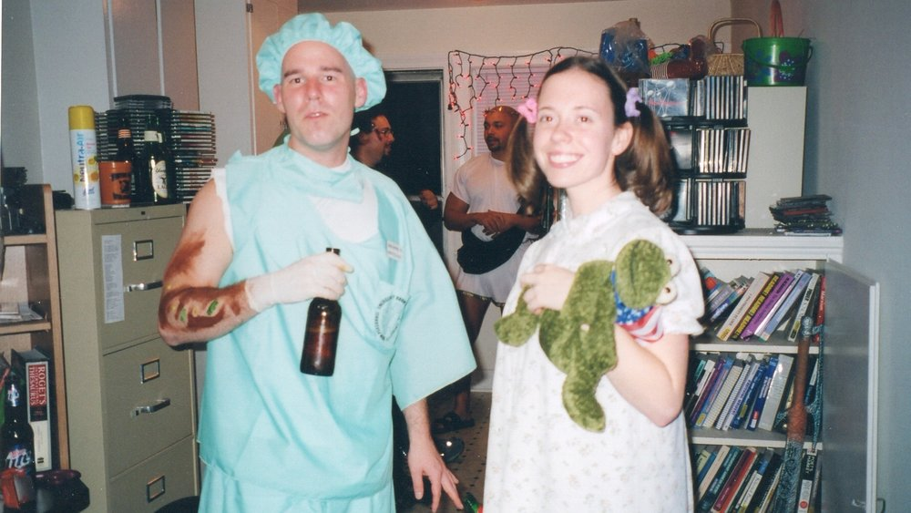 Me and my girlfriend at the time.  In reality, she was an expressive-partner type, but this particular Halloween role-play screams submissive sweetie. I was a proctologist.