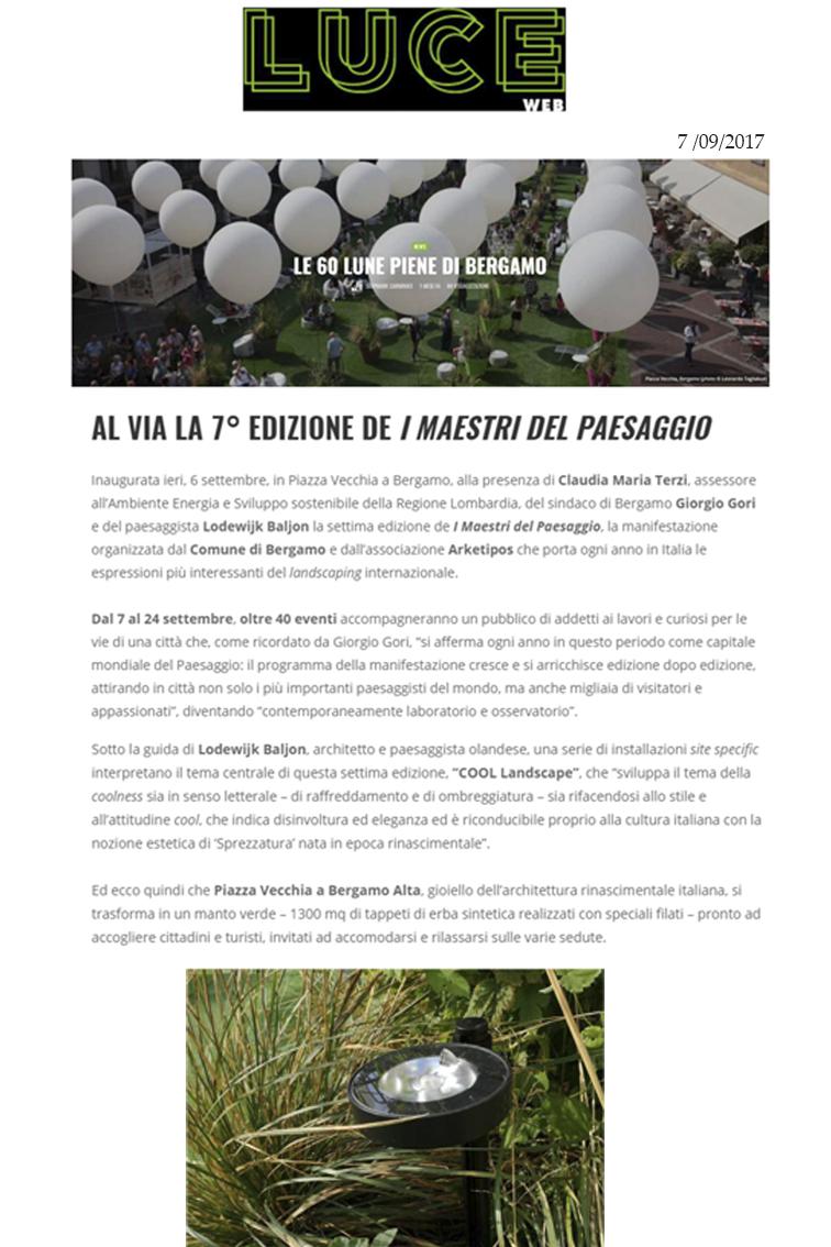 "Luce Web | Frog illumina i ""Maestri del paesaggio 2017"""