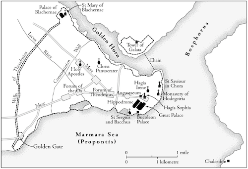 A map of Constantinople from  Ghost Empire  (The Church of St Saviour in Chora is misplaced, unfortunately, which was corrected in later editions).