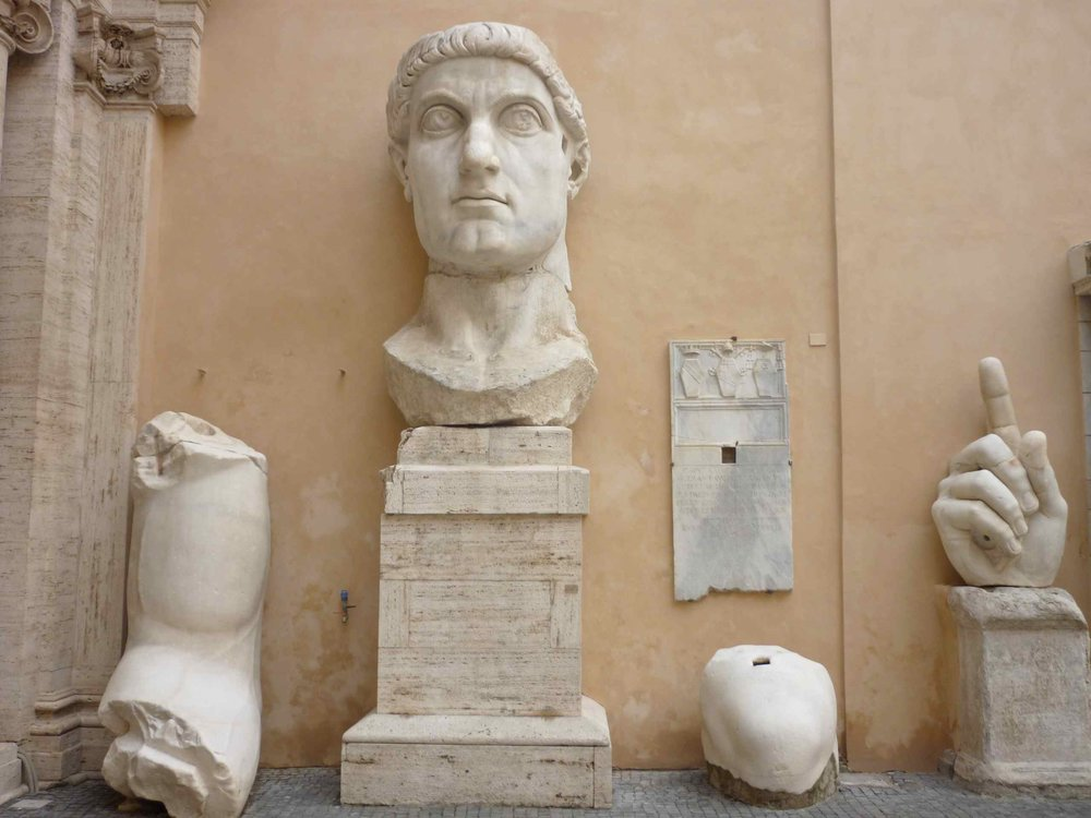 Remnants of a colossal statue of the Roman emperor Constantine the Great, founder of the city, in the courtyard of Rome's Capitoline Museum (photo by the author).