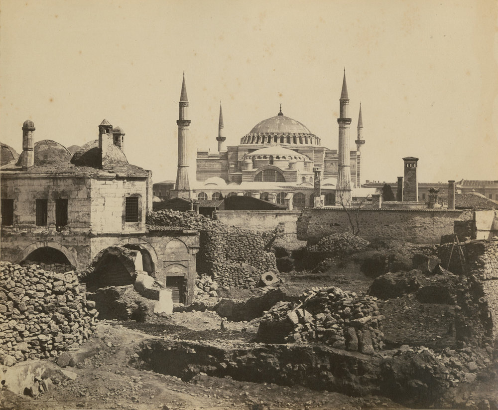 19th century photograph of the Hagia Sophia (wikimedia commons)