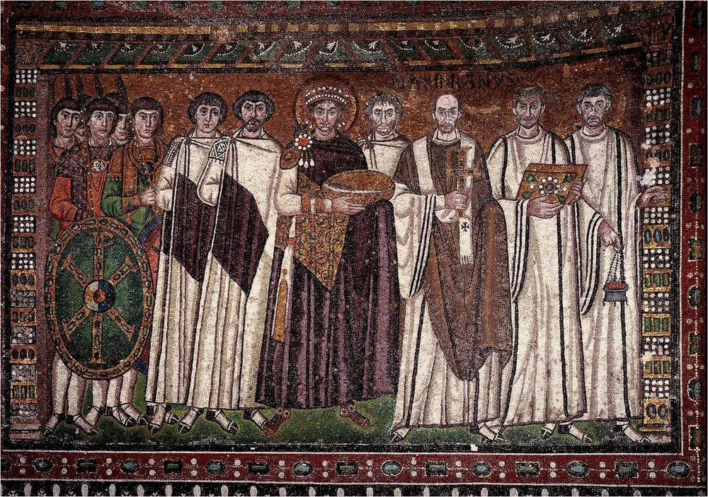 Mosaic of Emperor Justinian with his generals and courtiers, Church of San Vitale, Ravenna (wikimedia commons).