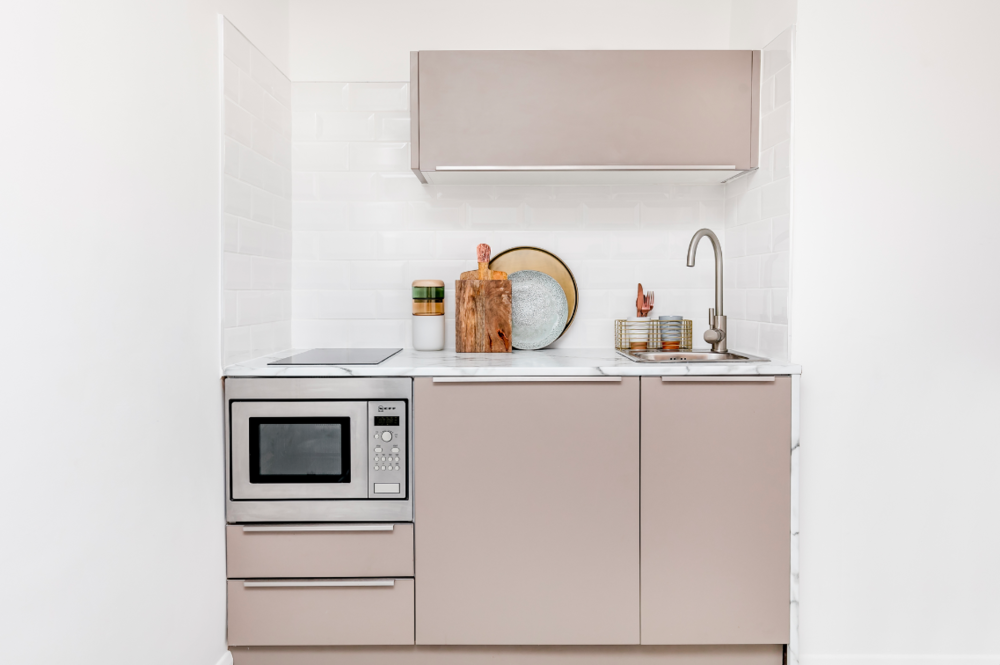 Our   Dalston Studio   apartment featured a classic Pullman kitchen design.
