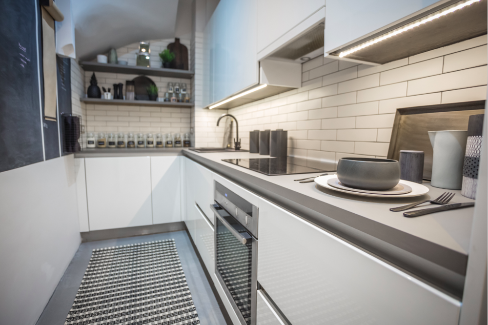 Tim's kitchen needed to economise its space so using a Galley design was the perfect solution.