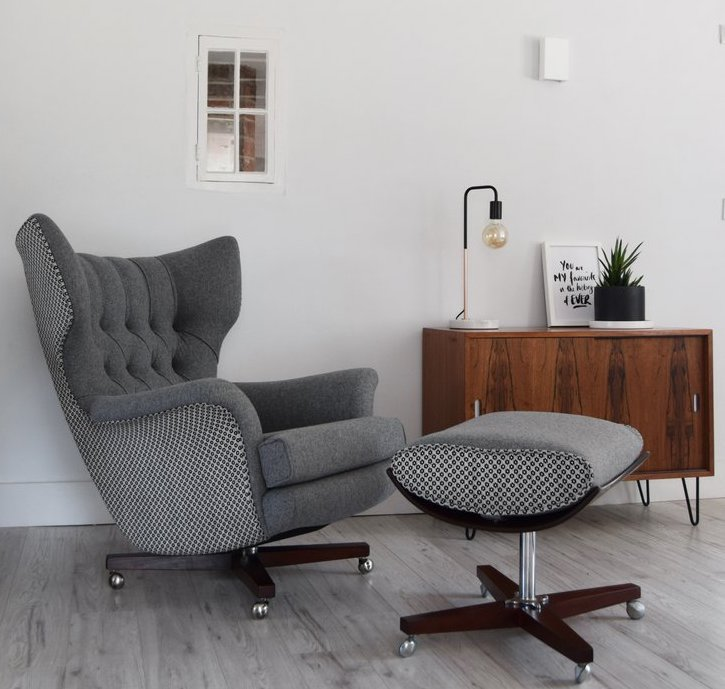 Grey Wool and ROMO G Plan 6250 Chair