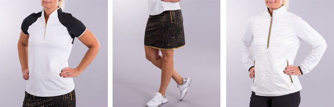 Piké S/S Polish Mock, Skort Passion Printed Pull On och Jacka Rain Delay Gold 3/4 Zip