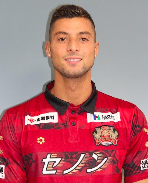 Fadel Karbon i drakten til sin nye klubb FC Ryukyu i Japan. (FOTO: Fc Ryukyu)