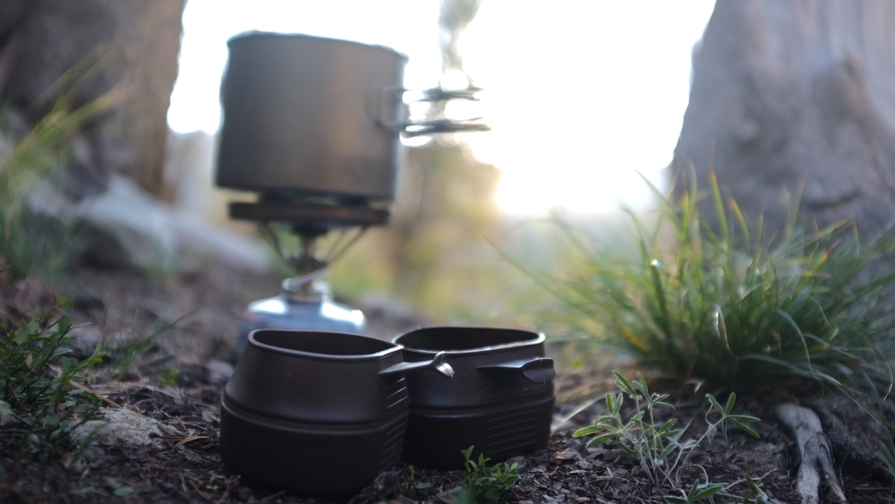 Camp coffee in Wyoming