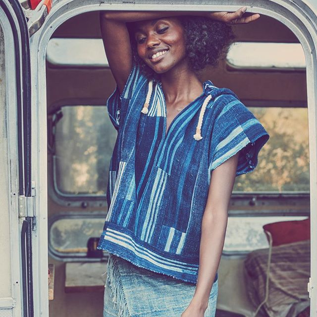 Baja hoodie and San Ysidro skirt visit #sxsw courtesy of @wearemoxiemade #festival #oneofakind #airstream #vintage #indigo #patchwork #madeinnyc