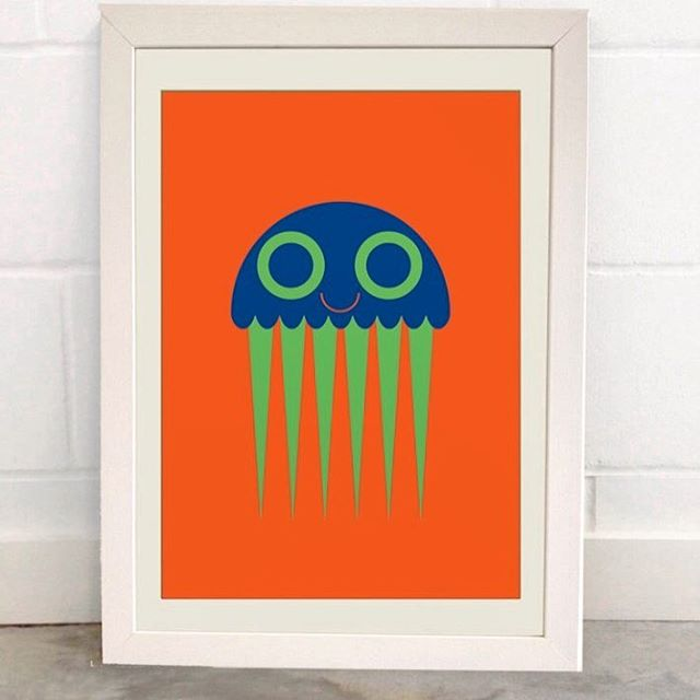 Cute Fisher the Jellyfish is now available in A3 poster. Buy from louvea.co.uk  #jellyfish #cuteposter #kidsinterior #kidsroom #kidsroomdecoration #illustration #poster #kidsposter