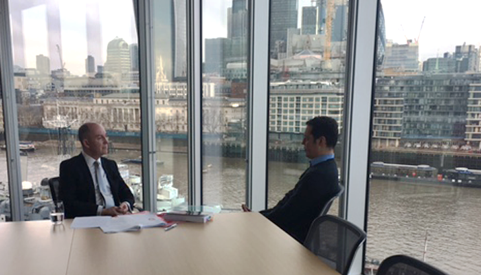 Robert MacGinn, Head of Brands at Laytons LLP, with the BBC's Chris Slegg.