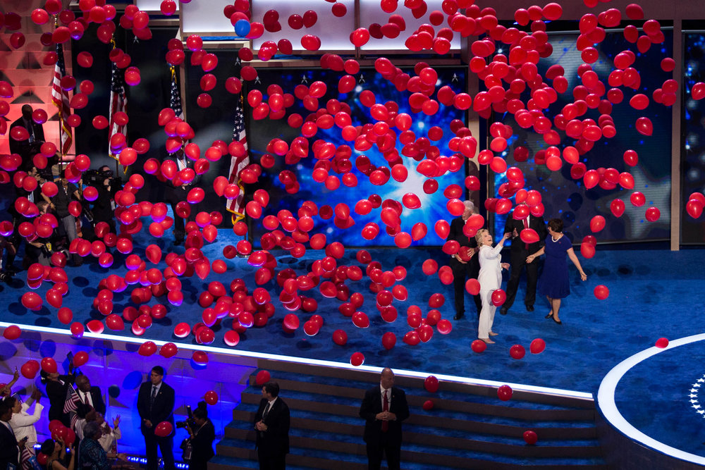"Hillary Clinton became the first female to be nominated as a presidential candidate by a major political party on the final night of the Democratic National Convention, a feat she called ""the biggest crack"" in the glass ceiling. Photo by Pankaj Khadka/BUNS"