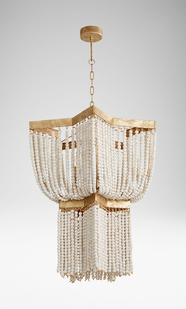 Currently 2 in stock: Estrella Pendant. White wooden beads, gold leaf detailing. 4 lights -can order