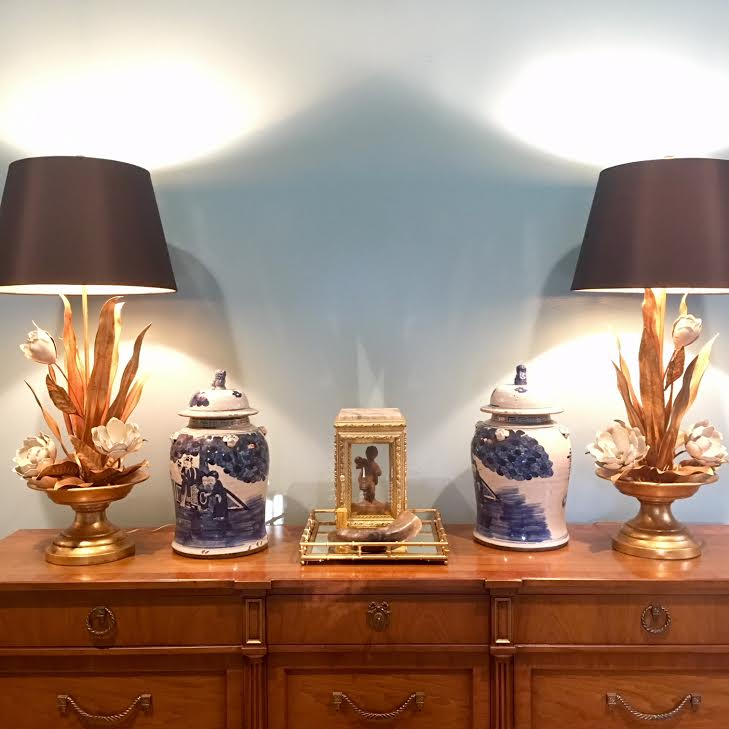 These lamps are one of my favorite elements in the room!  I love the drama!