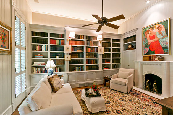 Previously used as a bedroom, it was used as a library once the children moved into their own homes on the property.