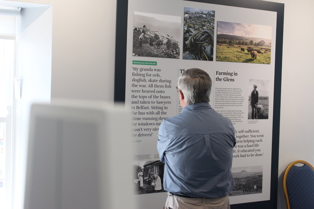 The Heritage Hub at Carnlough Town Hall - To showcase the significant heritage of the Antrim Coast and Glens, we developed a bespoke gateway hub to suit the town's multi-purpose community space.