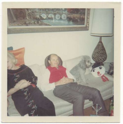 Man, Woman on Couch; Poodle, Snowman, Martini Glass   (via eBay)
