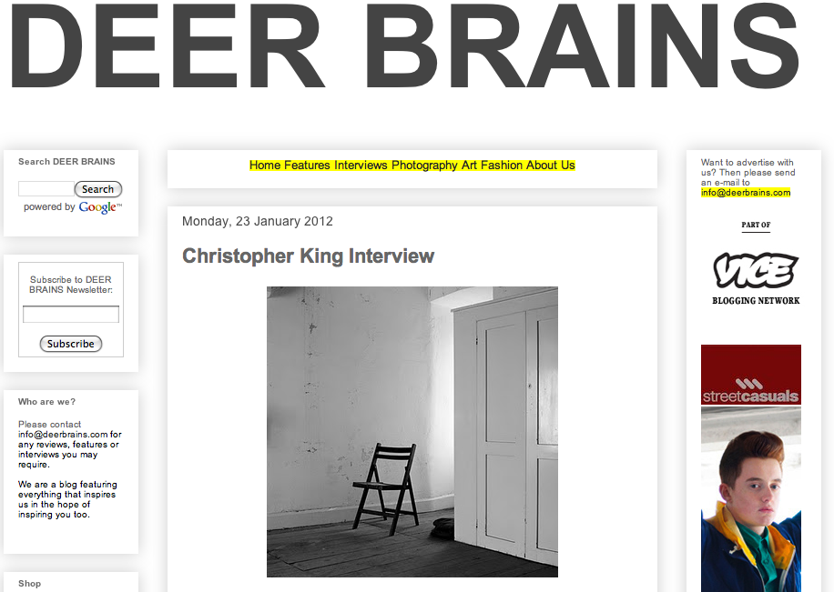 Recently I did an interview for DEER BRAINS. You can read it here