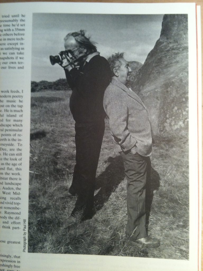 Portrait of Raymond Moore & Arron Siskind by Paul Hill from Moore's obituary in Creative Camera Magazine 1988.