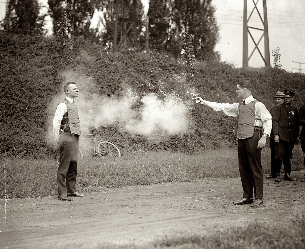 flutterknife: Testing a bullet-proof vest in Washington, DC. 13 September 1923.