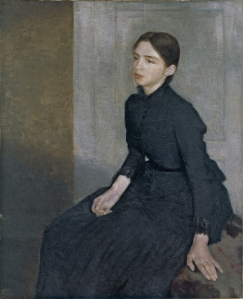 Portrait of a Young Woman. Vilhelm Hammershoi 1885 (via)