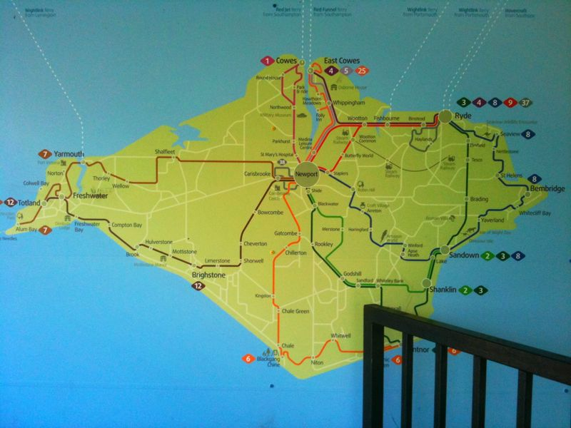 Im working on the Isle of Wight. This map of the local bus routes makes it look a bit like Manhatten. It isnt.