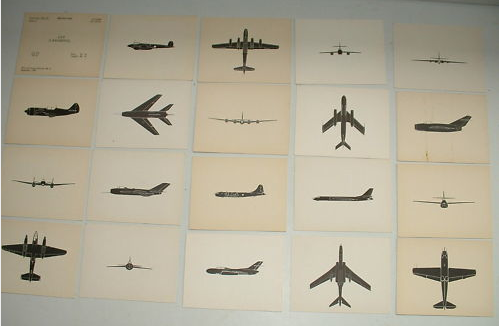 Got these 1950s RAF observer identification cards of cold war soviet aircraft on ebay