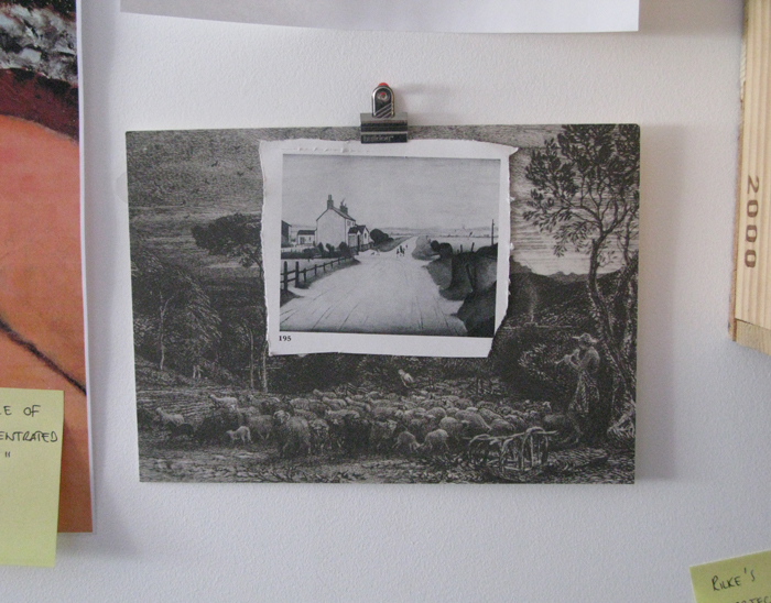 On my wall. (the postcard is from an exhibition of the Ruralists called 'Ancient Landscapes' in 2008, the cutting is from an old catalogue of a L.S. Lowry auction)