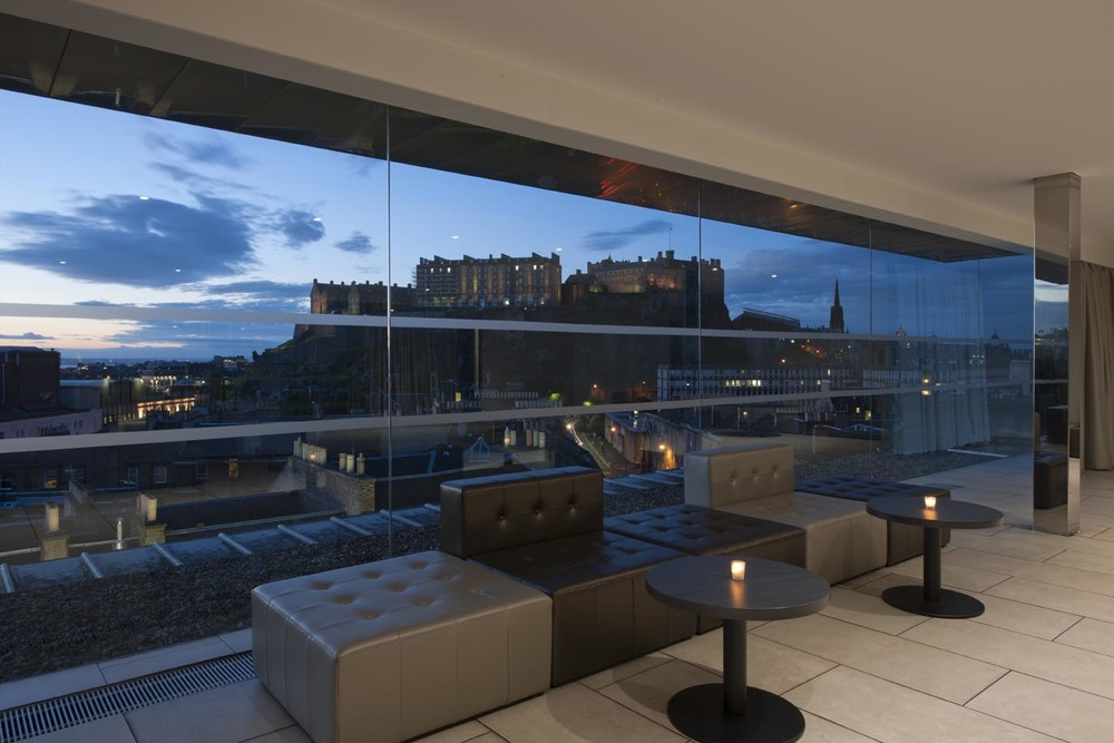 View of the Castle from inside Edinburgh's iconic SKYbar