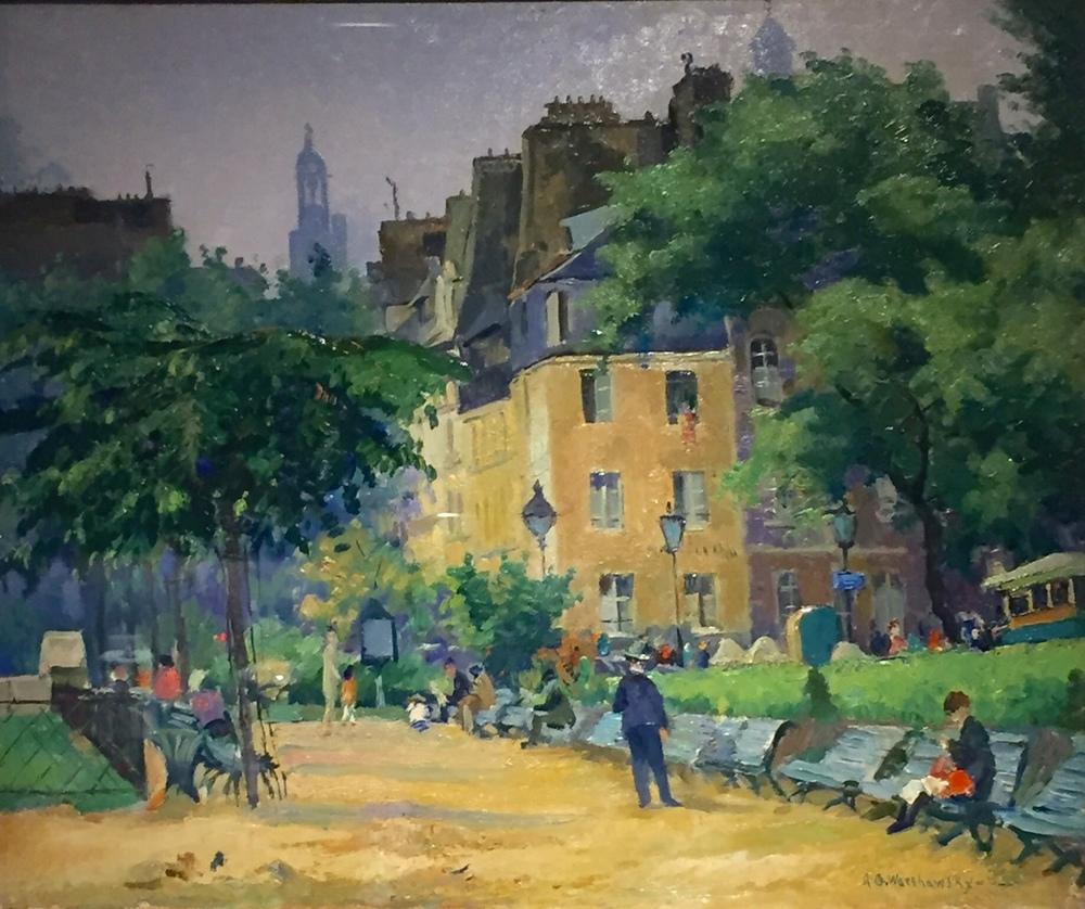 "Abel Warshawsky (1883- 1962) 'Park in Paris' Oil on panel, 17"" x 21"" $5,250"