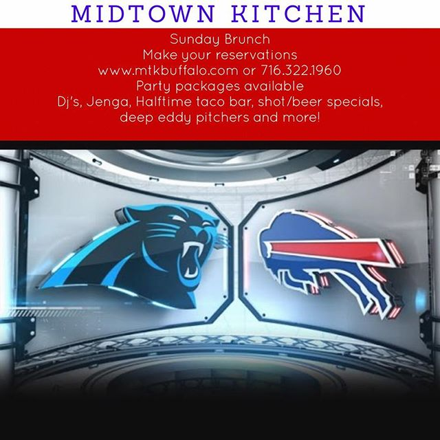 Bills vs Panthers! LETS GO BUFFALO! The Brunch Party Continues! Make your reservations! Large group packages available! Mimosa and Bloody Mary packages always available! #billsmafia #buffalobills #buffalolove #elmwoodave #allthedeepeddy #buffalove