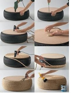 Ottoman, Old tire, rope, & glue