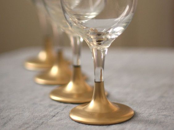DIY Gold Tipped Wine Glass