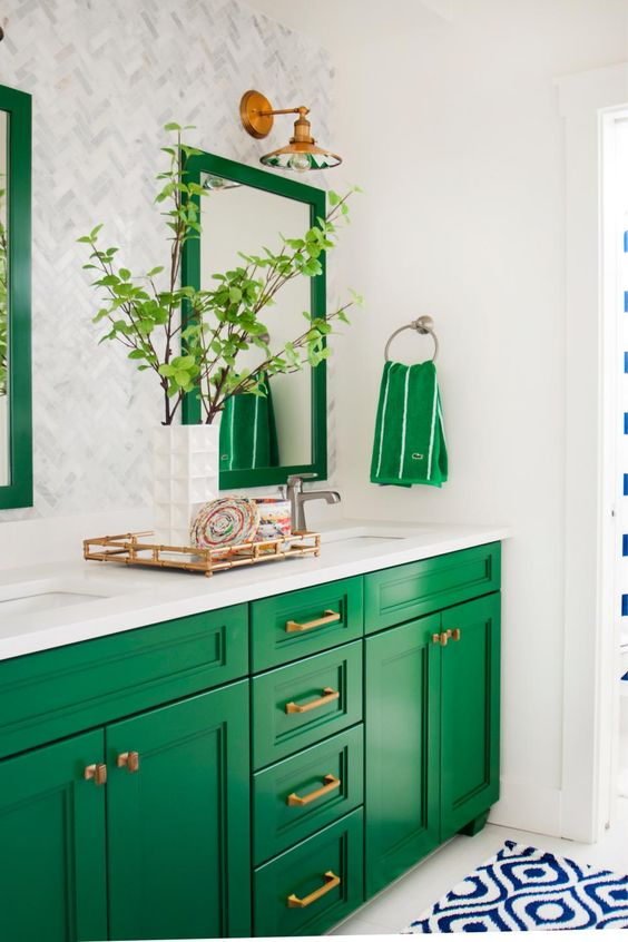 Jade Green Painted Cabinets