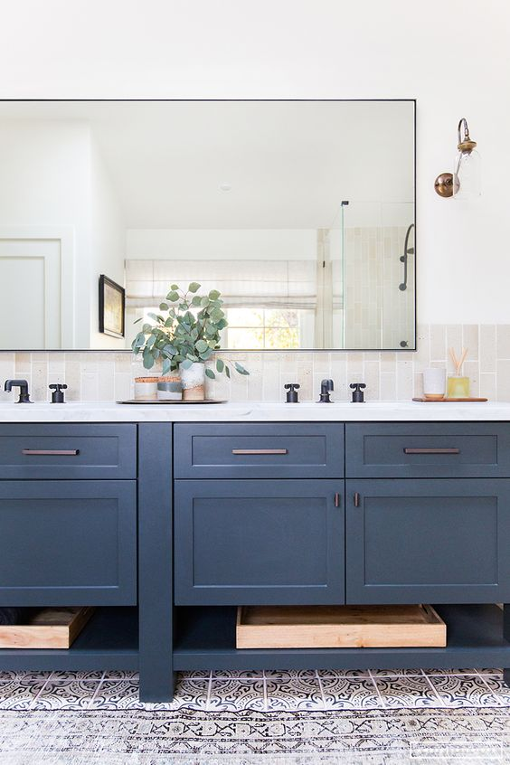 Stone Blue Painted Cabinets