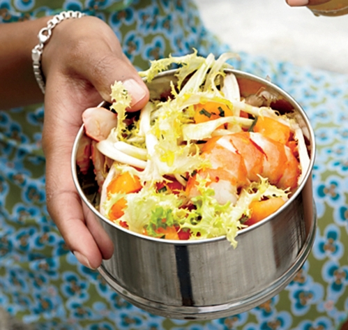 Poached Shrimp, Melon, & Frisée Salad -